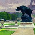 The Trocadero Gardens And The Rhinoceros by Jules Ernest Renoux