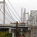 The Two Carquinez Bridges At Crockett And Vallejo California . Aka Alfred Zampa Memorial Bridge . 7d8919 by Wingsdomain Art and Photography