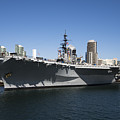 The U S S Midway Docked In San Diego by Kenneth Lempert
