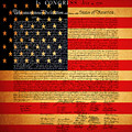 The United States Declaration Of Independence - American Flag - Square by Wingsdomain Art and Photography