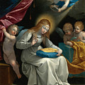 The Virgin Sewing Accompanied By Four Angels. La Couseuse by Guido Reni