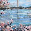 The Washington Monument At Cherry Blossom Festival Painting by Donna Tuten