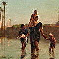 The Way From The Village. Time Of Inundation. Egypt by Frederick Goodall