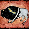The White Sacred Buffalo Fresco by OLena Art Lena Owens