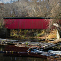 The Wissahickon Creek In Autumn - Thomas Mill Covered Bridge by Bill Cannon
