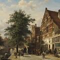 The Zuiderhavendijk, Enkhuizen, 1868 by Cornelis Springer