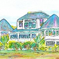 Thistle Lodge Pen Ink And Watercolor by Carlin Blahnik CarlinArtWatercolor