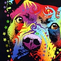 Thoughtful Pitbull Warrior Heart by Dean Russo