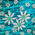 Three And Twenty Flowers On Blue by Rachel Hannah