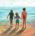 Three Beach Children Siblings  by Vickie Wade