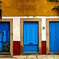 Three Blue Doors 1 by Mexicolors Art Photography