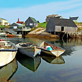 Three Boats At Peggys Cove by Kevin J McGraw