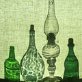Three Bottles And A Lamp by Michal Jansa