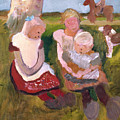 Three Children Sitting On A Hillside With Dog And Horse by Paula Modersohn-Becker