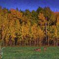Three Deer And A Moon by Lori Dobbs
