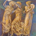 Three Female Figures Dancing And Playing by BurneJones Edward