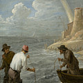 Three Fishermen Casting Their Nets by David Teniers the Younger