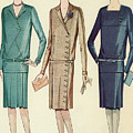 Three Flappers Modelling French Designer Outfits, 1928 by American School