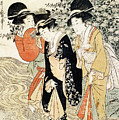 Three Girls Paddling In A River by Kitagawa Utamaro