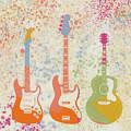 Three Guitars Paint Splatter by Dan Sproul