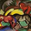 Three Horses 1912 by Marc Franz