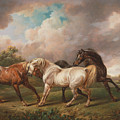 Three Horses In A Stormy Landscape 1836 by Joy of Life Art Gallery Charles Towne