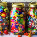 Three Jars Of Marbles Buttons Andtees by Garry Gay