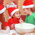 Three Kids Making Christmas Cookies by Anna Om