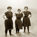 Three Ladies Bathing In Early Bathing Suit On Carmel Beach Early 20th Century. by California Views Archives Mr Pat Hathaway Archives