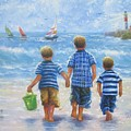 Three Little Beach Boys Walking by Vickie Wade
