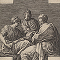 Three Muses And A Gesturing Putto by Giorgio Ghisi After Francesco Primaticcio
