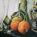 Three Oranges On Black by Aleksandra Buha