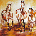 Three Pinto Indian Ponies by Marcia Baldwin