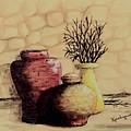 Three Pots And Twigs by Kenlynn Schroeder