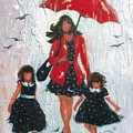 Three Rain Girls Red And Black by Vickie Wade