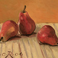 Three Red Pears by Raimonda Jatkeviciute-Kasparaviciene