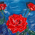 Three Red Roses Four Leaves by Valerie Ornstein