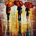 Three Red Umbrellas by Leonid Afremov
