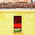 Three Red Windows With Flowers Of A Typically Italian House. by Antonio Gravante