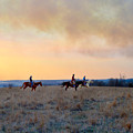 Three Riders In The Kansas Flint Hills by Catherine Sherman
