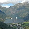 Three Ships At Geiranger Fjord by Deni Dismachek