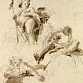 Three Studies Of The God Bacchus by Giovanni Battista Tiepolo