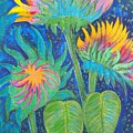 Three Sunflowers In The Mid Summer Night  by Jean Fassina