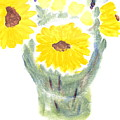 Three Sunflowers by Richard W Linford