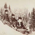 Three Tobogganers On A Snowy Hill by Alexander Henderson