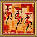 Three Tribal Dancers L A With Decorative Ornate Printed Frame. by Gert J Rheeders