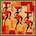 Three Tribal Dancers L B With Alt. Decorative Ornate Printed Frame. by Gert J Rheeders