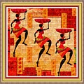 Three Tribal Dancers L B With Decorative Ornate Printed Frame by Gert J Rheeders
