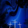Three White Crosses by Mykel Davis