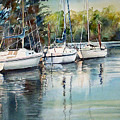 Three White Sails Docked by June Conte  Pryor